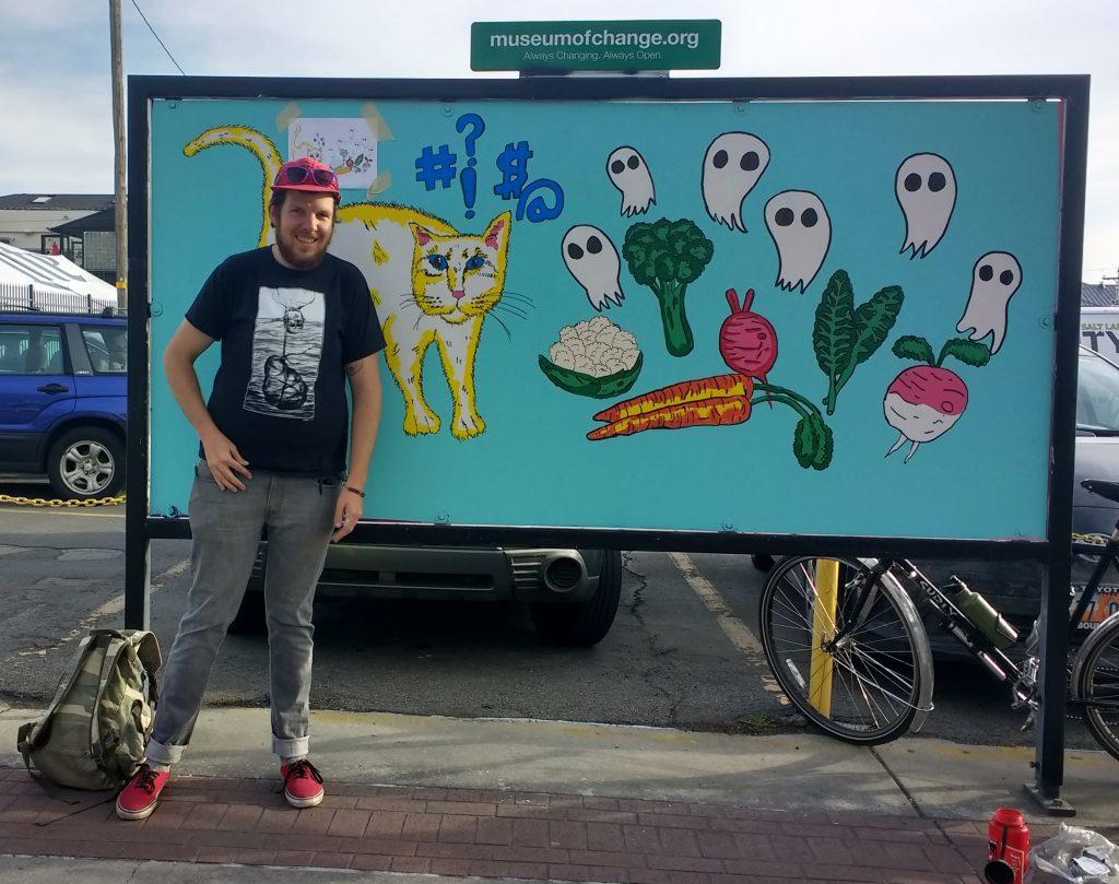 Matt Crane with his plakat
